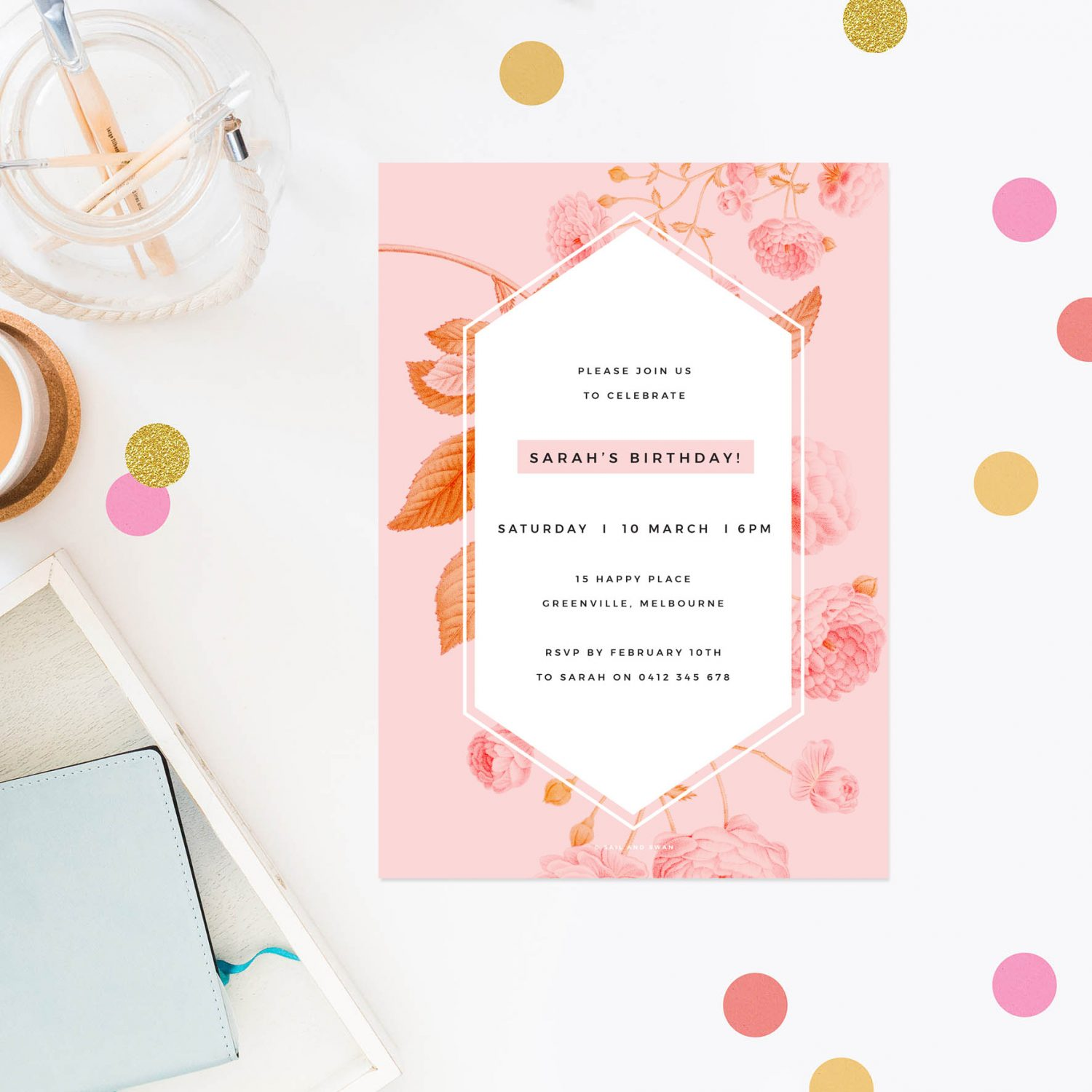 Modern Pink Floral Birthday Invitations - Sail and Swan