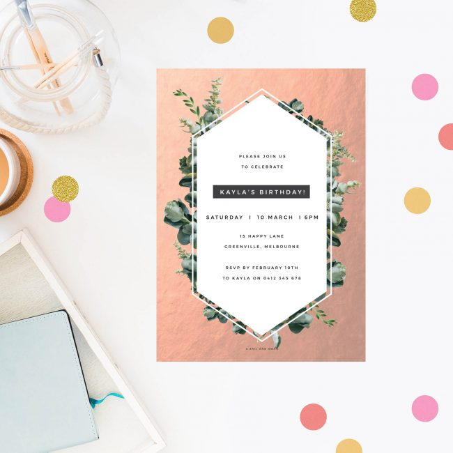 Rose Gold Botanical Birthday Invitations Modern Stylish Elegant Simple Natural greenery Botanical Brithday Invites Australia Sydney Perth melbourne United States US New York California UK London Sail and Swan