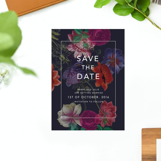 Elegant Dark Floral Save the Dates Australia Sydney Perth Melbourne Brisbane Canberra Adelaide Moody Marsala Save the Dates New York United States London UK United Kingdom