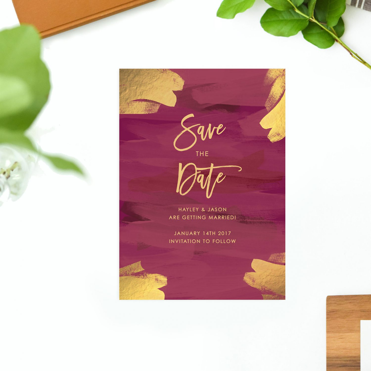 Gold Burgundy Save the Dates - Plum and Gold
