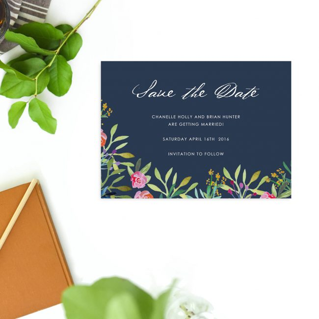 Pink Navy Floral Navy Save the Dates Australia Perth Sydney melbourne canberra brisbane adelaide elegant watercolour floral save the dates london uk