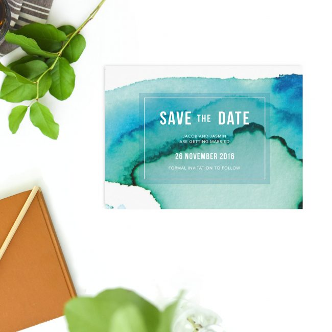 Turquoise Abstract Save the Dates Australia Sydney Perth Melbourne Adelaide Canberra brisbane Abstract Watercolour Wash Save the Dates new york united states london uk