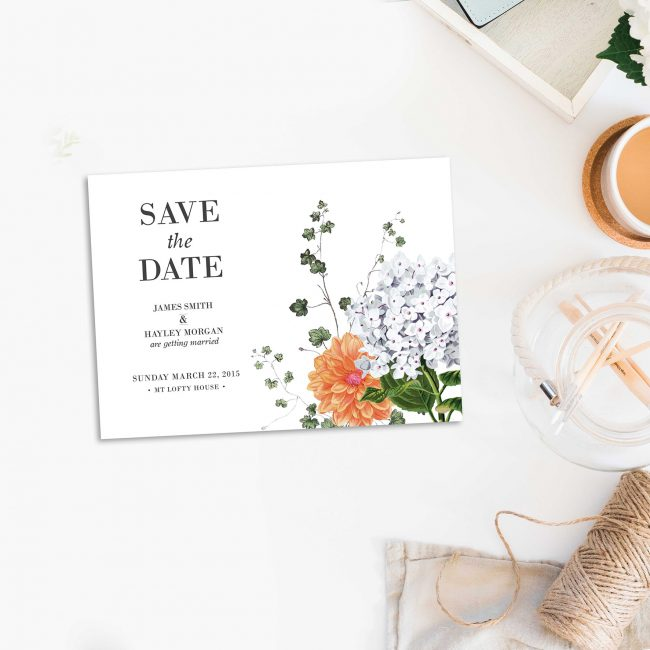 Modern Vintage Botanical Save the Dates Australia Sydney Perth Melbourne Caberra Brisbane Adelaide Clover Dahlia Elegant Floral Save the Dates Uk London United States New York Sail and Swan