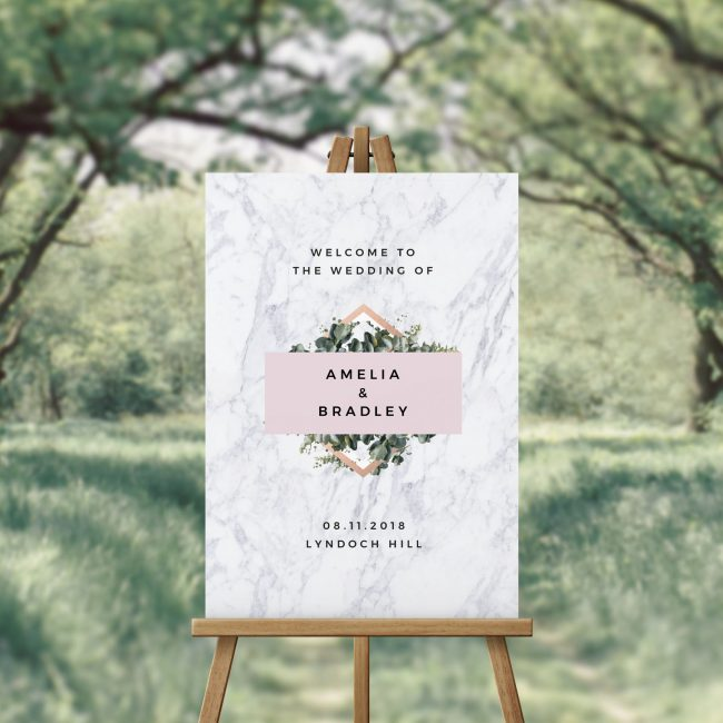 Modern Marble Botanical Welcome Sign Australia Contemporary Chic Welcome Sign Sydney Melbourne Perth brisbane Adelaide Canberra