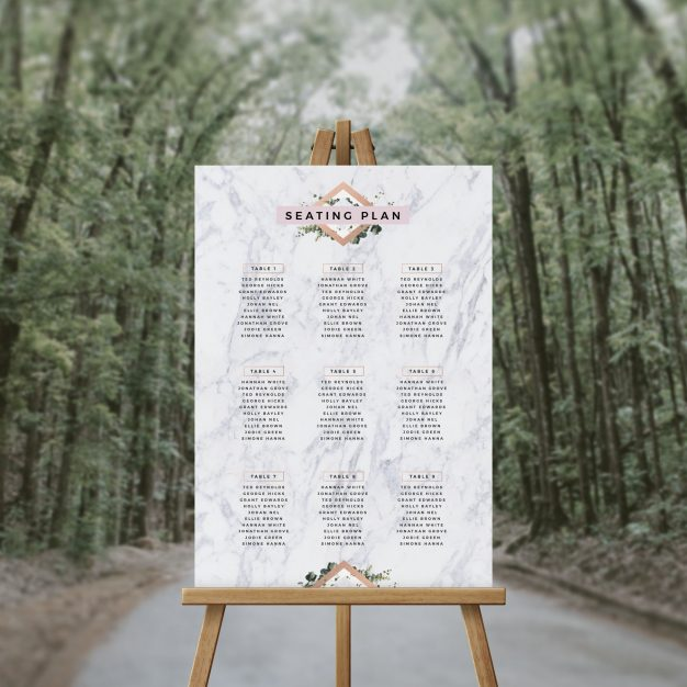 Elegant Marble and Foliage Seating Chart Seating Plan Australia Sydney Perth Melbourne Adelaide brisbane canberra elegant wedding seating sign