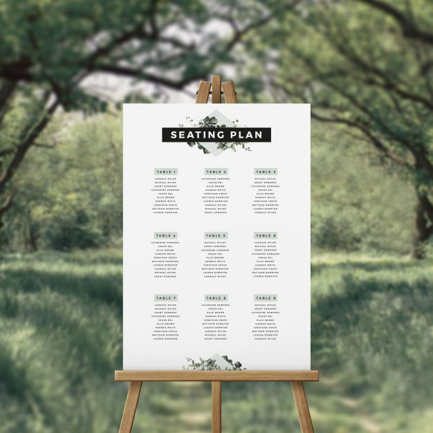 Elegant Modern Green Botanical Seating Chart Sydney Perth Melbourne Adelaide Canberra Brisbane Wedding Seating Plan Elegant greenery modern foliage leaves