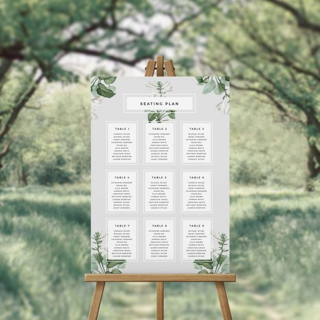 Elegant Green and White Foliage Seating Plan Seating Chart Australia Sydney Perth Melbourne Canberra Adelaide Brisbane Elegant Wedding Seating Sign