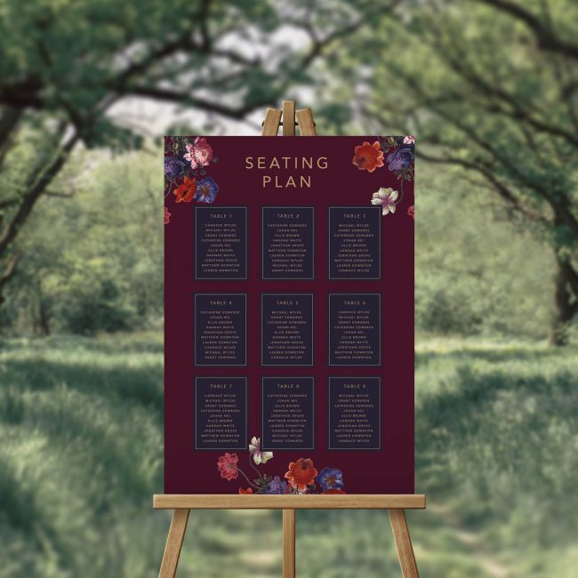 Floral Burgundy Navy Seating Plan Australia Seating Chart Adelaide Sydney Melbourne Perth Brisbane Crimson Red Purple Marsala Burgundy Navy Flowers Floral Elegant Sophisticated Seating Sign