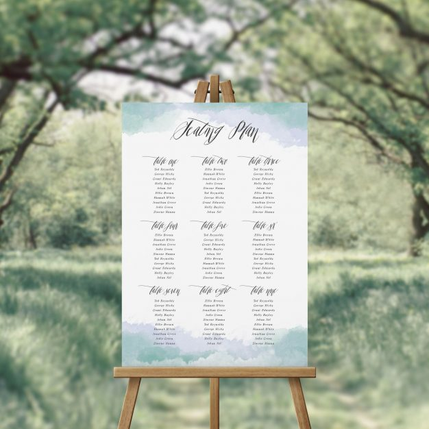 Blue Turquoise Calligraphy Watercolour Seating Plan Seating Chart Australia Perth Sydney Adelaide Brisbane Canberra Melbourne