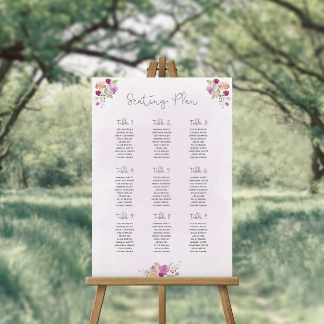 Pink Watercolour Floral Seating Chart Sydney Perth Melbourne Brisbane Adelaide Canberra Australia Pretty Elegant Wedding Seating Plan