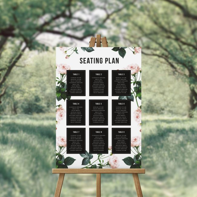 Modern Vintage Rose Seating Chart Black White Australia Sydney Perth melbourne Adelaide Brisbane Canberra Pink Roses Modern Elegant Wedding Seating Sign