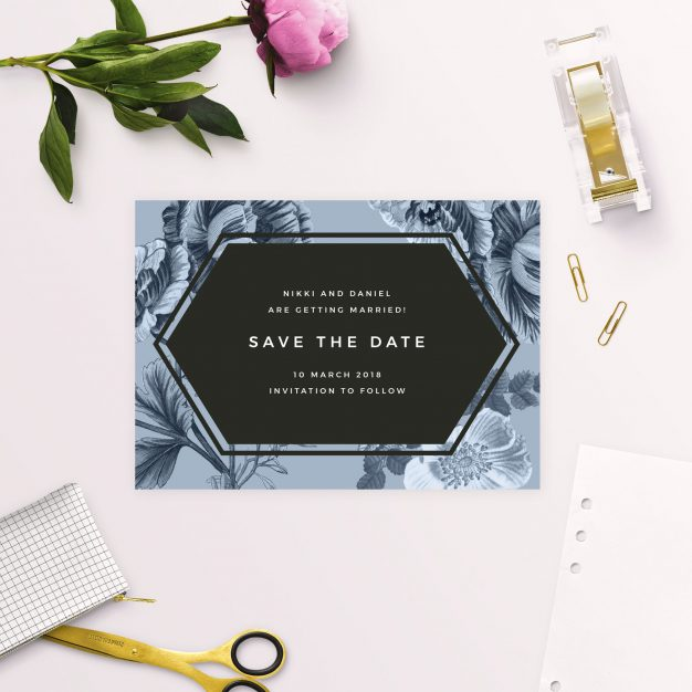 Modern Blue Botanical Floral Save the Dates Australia perth sydney melbourne adelaide brisbane canberra black modern contemporary save the dates new york united states london uk