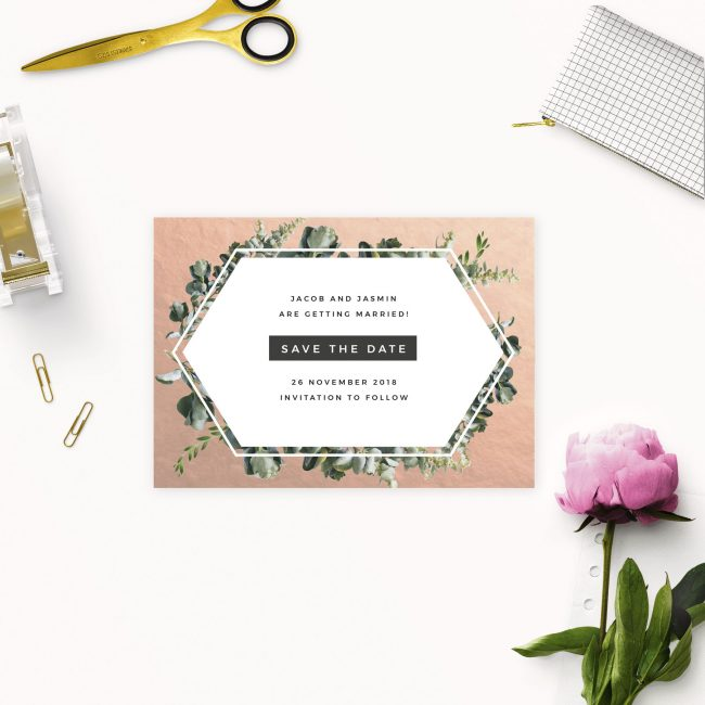 Rose Gold Foil Modern Botanical Save the Dates Australia Sydney Perth Melbourne Adelaide brisbane canberra rose gold save the dates new york united states london uk
