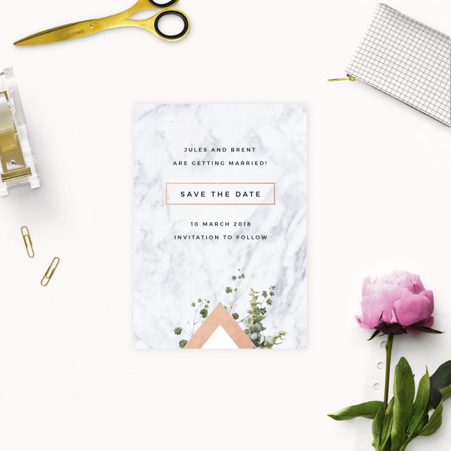 Modern Geometric Marble Rose Gold Save the Dates Australia Sydney Perth melbourne adelaide canberra brisbane stylish elegant marble rose gold save the dates new york united states london uk