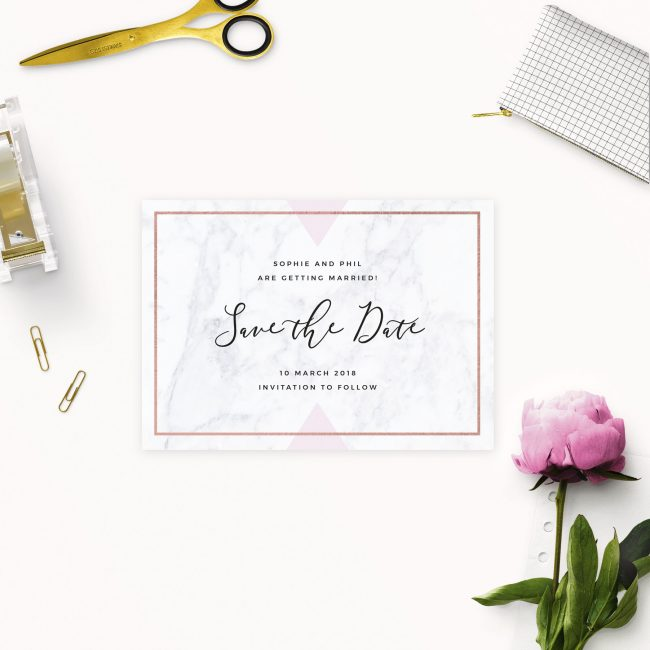 Marble Rose Gold Floral Save the Dates Australia Sydney Perth melbourne Brisbane Canberra Adelaide Geometric Marble Save the Dates Uk London United States New York Sail and Swan