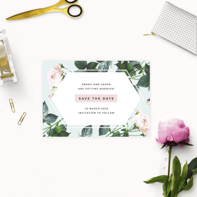 Floral Rose Mint Green Pastel Save the Dates Australia Sydney Perth Melbourne Brisbane Adelaide Canberra Modern Contemporary Rose Floral Save the Dates New york united states london uk