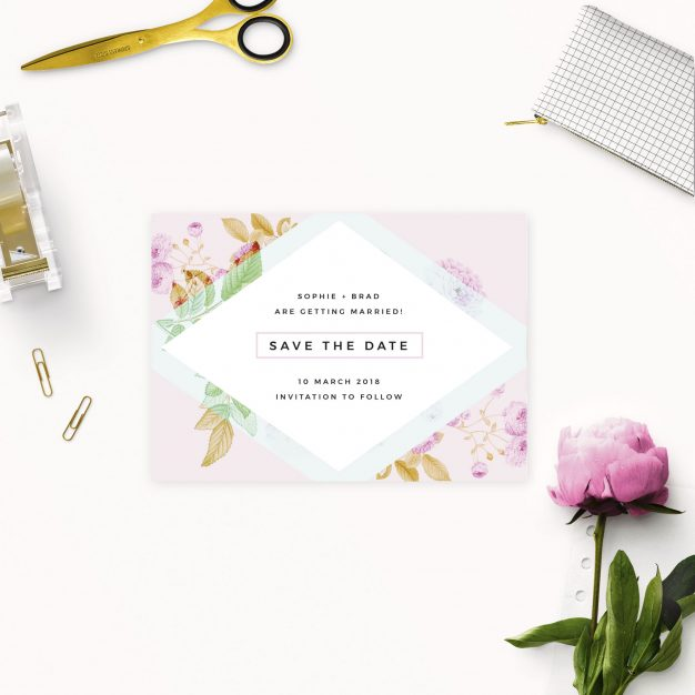 Modern Pastel Pink Blue Green Geometric Save the Dates Australia Sydney Melbourne perth adelaide brisbane canberra pale modern save the dates new york united states london uk