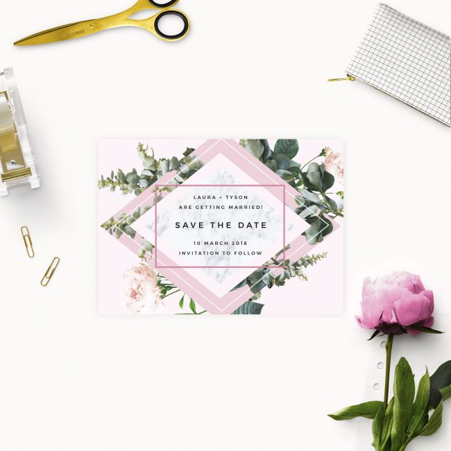 Modern Pink Green Floral Botanical Save the Dates Australia Sydney Perth melbourne brisbane Canberra Adelaide Modern elegant botanical save the dates New York united states UK London