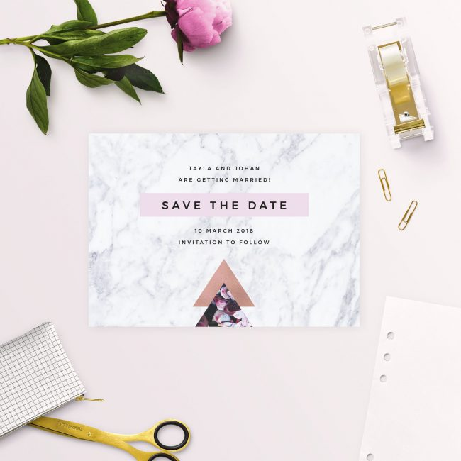 Pink Hydrangea Geometric Rose Gold Save the Dates Australia Sydney Melbourne Perth Adelaide Canberra Brisbane Elegant Marble Save the Dates United States new York UK London