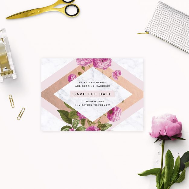 Floral Marble Pink Rose Gold Save the Dates Australia sydney perth melbourne adelaide brisbane canberra marble rose gold save the dates new york united states london uk