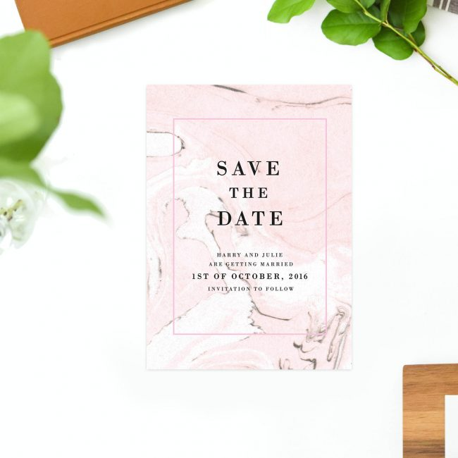 Blush Pink Marble Save the Dates Australia Sydney perth Melbourne adelaide canberra brisbane pink white marbled elegant save the dates new york united states london uk