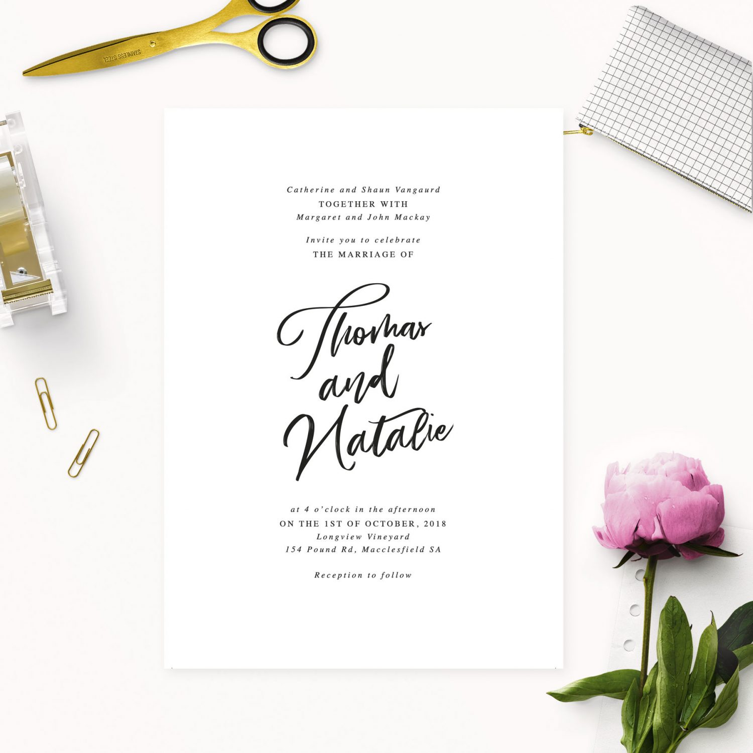 Simple Elegant Writing Wedding Invitations - Elegant Calligraphy