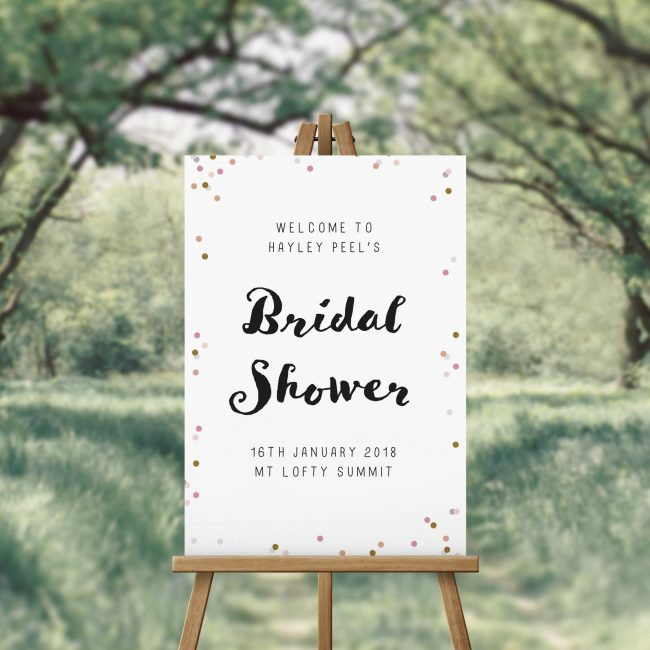 Pink Gold Confetti Bridal Shower Welcome Sign